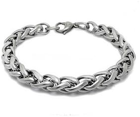 Minprice Pure Stainless Steel Silver Round Rope Bracelet