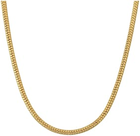MissMister Gold Plated Thin Round Body Snake Design Short Length Fashion Chain Women Men (18 inch)