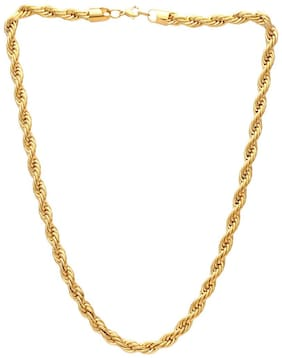 MissMister Gold Finish Super Thick and Heavy 24 inch Fashion Chain Necklace