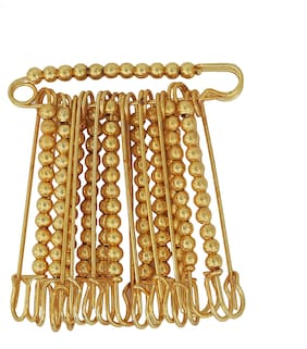 MissMister Gold plated brass;Ball bead;Pack of 12;Stylish Saree Dupatta stole pin safety pin men women tradtional