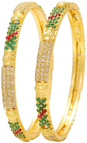 MissMister Gold Plated Colourful Precious Stone Colour CZ Studded Jewellery Bangles for Women