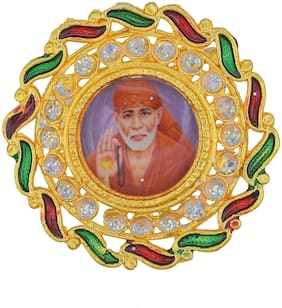 MissMister Gold Plated Meenakari CZ Sai Baba Brooch Broach Hindu God Clothing Accessory Men Women