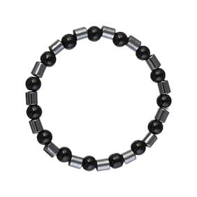 MissMister Onyx Magnetic Health Benefit Stylish Stretch Bracelet Free Size Men