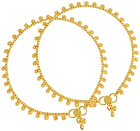 MissMister Pure Gold Coating Brass Flowery Ethnic Payal Anklet Traditional Jewellery for Women(1 Pair)
