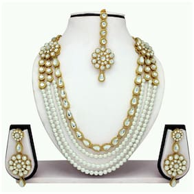 MissPerfect Rajwadi Bridal Maroon Stone Fancy Women Necklace Sets With Earrings