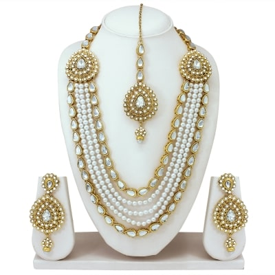 missperfect rajwadi bridal white fancy women necklace sets with earrings