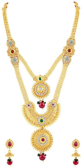 MFJ Smoky Gold Plated Necklace Set For Women