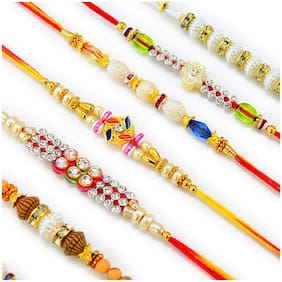 MJR Set of 6 Rakhi / Rakhi for Bhabhi with  Roli Chawal