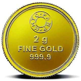 MMTC-PAMP Gold Coin of 2 g 24 Karat in 999.9 Purity / Fineness in Certi Card