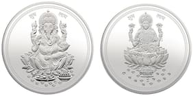 Modison Hallmarked 999 Pure 20 g Silver Laxmi and Ganesha Coin