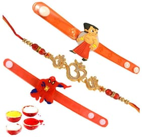 Mohit Rakhi Exclusive Kids Assorted Cartoon Characters Led Light Bracelets Veera Rakhi (Set of 3) With Chandan Roli