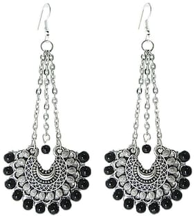 muccasacra Black Latest Fashion Dangle Sterling Silver Earring Length 3.75 Inch
