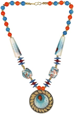 muccasacra Fresh Collection Blue peacock print Round Stone, Shell, Alloy Pendant