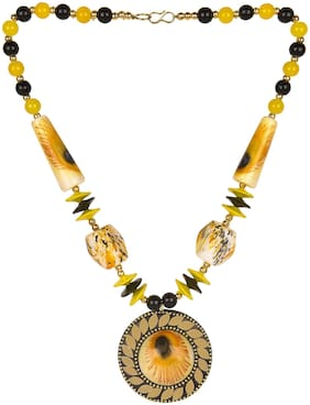 muccasacra Fresh Arrival peacock print Yellow Round Stone, Shell, Alloy Pendant