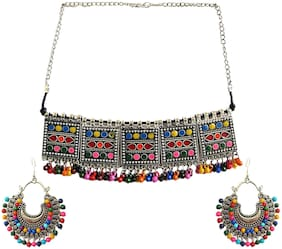 muccasacra Fresh Arrival Multi-colour Meenkari Collar silver Finish Traditional Looking Beads Alloy, Fabric Necklace