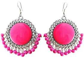 muccasacra Fresh Arrival Silver Finish Pink Dangler With Pearls Earring Length 2.5 Inch