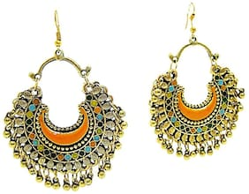 muccasacra Golden Shimmer Kashmiri n Afghani Alloy, Multicolour Dangle Earring