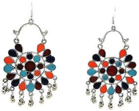 muccasacra Good Looking Tribal Afghani n Kashmiri Style Multicolour Alloy, Stone Dangle Earring