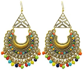 muccasacra Hot Trendy Kashmiri n Afghani Alloy, White Metal Dangle Earring