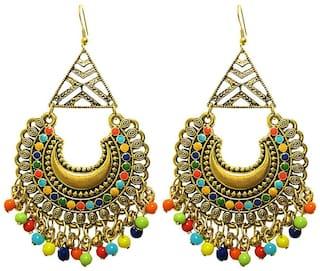 muccasacra Hot Trendy Kashmiri n Afghani Alloy, White Metal Dangle Earring