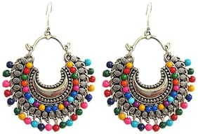 muccasacra Latest collection of Multicolour Beaded Gold Finish Sterling Silver Earring