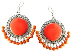 muccasacra New Arrival Latest Silver Finish Orange Dangler With Pearls Earring Length 2.5 Inch