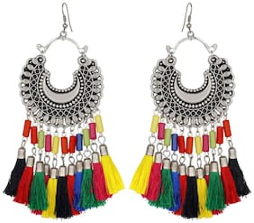 muccasacra New Collection Sterling Silver, Multicolour Fabric Tassel Dangle Earring