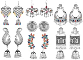 Muccasacra New Trendy Silver Antique Finish With Multi Earring