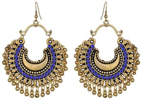 muccasacra New Arrival Blue Zirconia Studded Dangle German Silver Earring