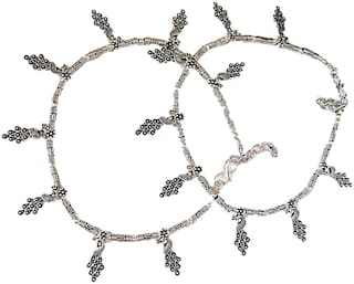 muccasacra Oxidized Silver peacock Design Pair Anklets