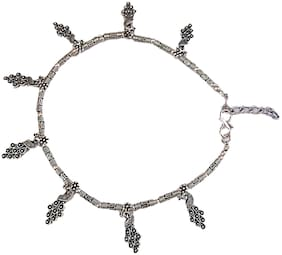 muccasacra Oxidized Silver peacock Design Single Anklet