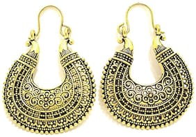 muccasacra Popular Antique Gold Finish  Afghani Chandbali Net Design Jhumki  N Earring L-2.25''