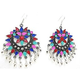 muccasacra Popular & Trendy Smoked N Multicolour Afghani Earring