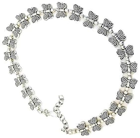 muccasacra Single Butterfly German silver Anklet Length-10 inch
