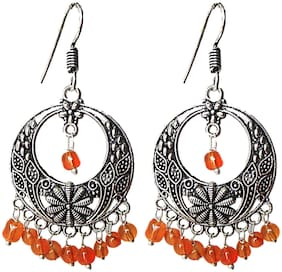 muccasacra with traditional Orange Beads Sterling Silver, German Silver Earring