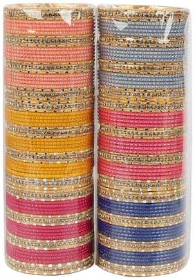 MUCH MORE 2 Set Of Multi Colour Beautiful Matte Bangle Box For Women