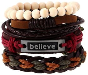 MULTICOLOUR LEATHER BRACELET SET OF 4 (ANY ONE SET)