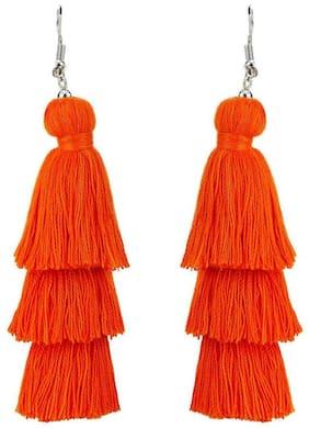 Nawab Boho Gypsy 3 Layer Long Tassel Earring for girls and women-Orange