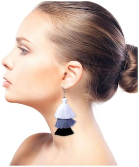 Nawab Boho Gypsy Tassel Earring for girls and women - WHITE GREY BLACK