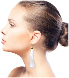 Nawab Boho Gypsy Tassel Earring for girls and women - WHITE