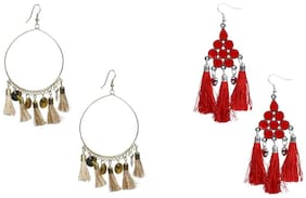 Nawab Boho Gypsy Tassel and eanmel Earring for girls and women (pack of 2 pair)- BEIGE AND RED