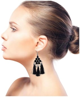 Nawab Boho Gypsy Meena Tassel Earring for girls and women - BLACK