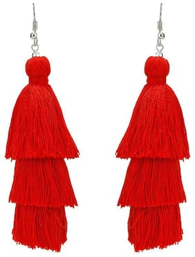 Nawab Boho Gypsy 3 Layer Long Tassel Earring for girls and women-Red