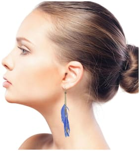 Glamwars Boho Gypsy Feather Tassel Earring for girls and women - BLUE