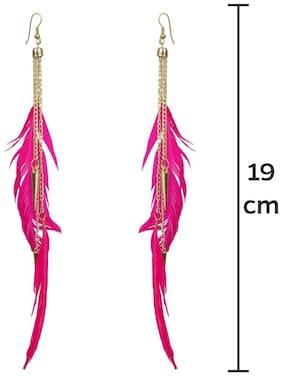 Glamwars Boho Gypsy Feather  Tassel Earring for girls and women -PINK