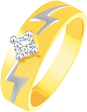 NETRA CREATION Wavy Pattern Gold Plated Alloy & Barss Cubic Zirconia Finger Ring for Women [NFR467G]