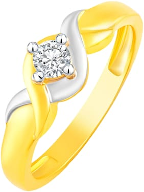 NETRA CREATION Bonded Single Solitaire Gold Plated Alloy & Barss Cubic Zirconia Finger Ring for Women [NFR493G]