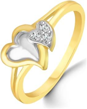 Netra Jewels Couple Heart Diamond Studded Gold Plated  Brass Cz American Diamond Finger Ring for Women & Girls [NFR113G]