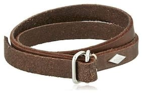 NEW FOSSIL DOUBLE WRAP DARK BROWN LEATHER TONE+SILVER, CUFF BRACELET