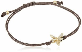 NEW-FOSSIL GOLD BEE WITH CRYSTALS,CHOCOLATE BROWN CORD BRACELET JA6390710